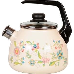 Чайник эмалированный со свистком 3.0 л СтальЭмаль Луговые цветы (4с209я) чайник стальэмаль цветочный 2 л со свистком
