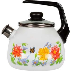 Чайник эмалированный со свистком 3.0 л СтальЭмаль Цветочный (4с209я) чайник стальэмаль цветочный 2 л со свистком