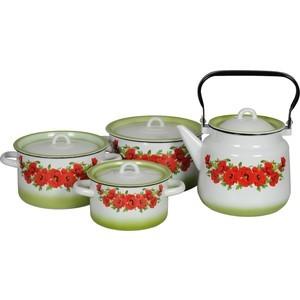 Наборы посуды 4 предмета СтальЭмаль Восточный мак (1с142/1)