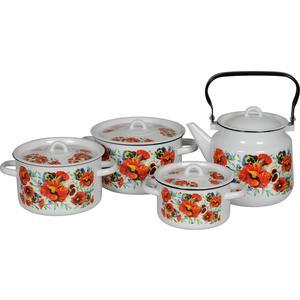 Наборы посуды 4 предмета СтальЭмаль Маки мечта (1с142/1 белый)