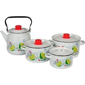 Наборы посуды 4 предмета СтальЭмаль Мохито (1с142/1 белый)