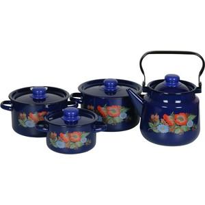 Наборы посуды 4 предмета СтальЭмаль Русское поле (1с142/1 синий)