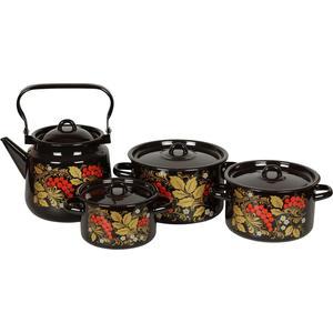 Наборы посуды 4 предмета СтальЭмаль Рябина (1с142/1) черный