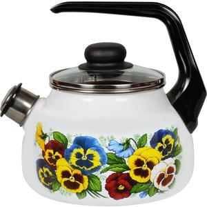 Чайник эмалированный со свистком 2.0 л СтальЭмаль Анютины глазки (4с210я) чайник стальэмаль цветочный 2 л со свистком