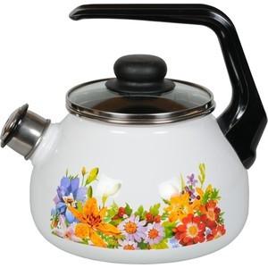 Чайник эмалированный со свистком 2.0 л СтальЭмаль Полянка (4с210я)