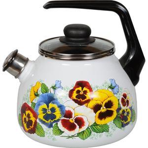Чайник эмалированный со свистком 3.0  СтальЭмаль Анютины глазки (4с209я)