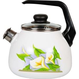 Чайник эмалированный со свистком 3.0 л СтальЭмаль Каллы (4с209я) чайник эмалированный 3 0 л со свистком appetite париж 4с209я