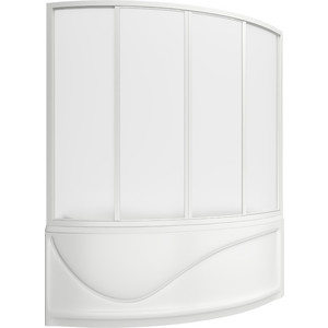 Шторка на ванну BAS Николь 170х145, 4 створки, пластик Вотер (ШТ00035)  bas николь r