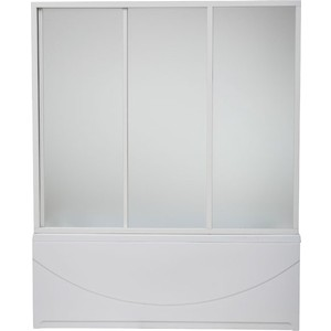 Шторка на ванну BAS Тесса 140х145, 3 створки, стекло Грейп (ШТ00042)  bas тесса