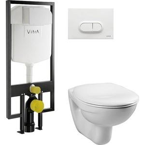 Комплект Vitra Normus унитаз с сиденьем + инсталляция + кнопка белая (9773B003-7201) подвесной унитаз vitra normus 9773в003 7201 белый