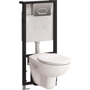 Фотография товара комплект Vitra Normus унитаз с сиденьем + инсталляция + кнопка хром (9773B003-7202) (567267)