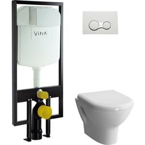 Комплект Vitra Zentrum унитаз с сиденьем + инсталляция + кнопка хром (9012B003-7205) унитаз компакт vitra 9012b003 7204