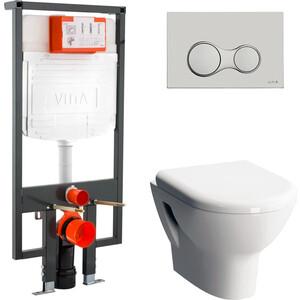 Комплект Vitra Zentrum унитаз с сиденьем микролифт + инсталляция + кнопка хром (9012B003-7206) унитаз компакт vitra 9012b003 7204