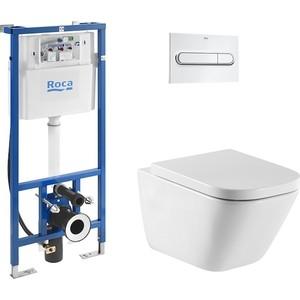 Комплект Roca Gap Clean Rim 34647L000 унитаз + инсталляция Roca WC, кнопка хром