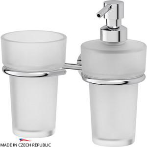 Держатель со стаканом и емкостью для жидкого мыла FBS Vizovice хром (VIZ 008) держатель со стаканом и емкостью для жидкого мыла fbs ellea хром ell 008