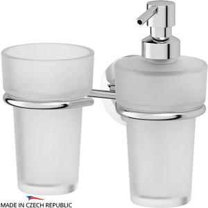 Держатель со стаканом и емкостью для жидкого мыла FBS Standard хром (STA 008) держатель со стаканом и емкостью для жидкого мыла fbs ellea хром ell 008