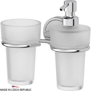 Держатель со стаканом и емкостью для жидкого мыла FBS Luxia хром (LUX 008) диспенсер fbs luxia lux 009