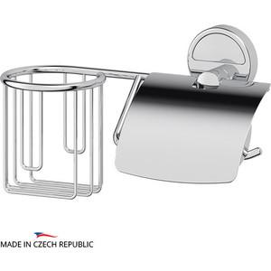 Держатель освежителя и туалетной бумаги с крышкой FBS Luxia хром (LUX 054) гарнитур для туалета fbs luxia цвет хром 2 предмета lux 059