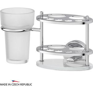 Держатель зубных щеток и пасты со стаканом FBS Luxia хром (LUX 061) гарнитур для туалета fbs luxia цвет хром 2 предмета lux 059