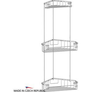 Полочка-решетка угловая 3-х ярусная 18/23/23 см FBS Ryna хром (RYN 008)