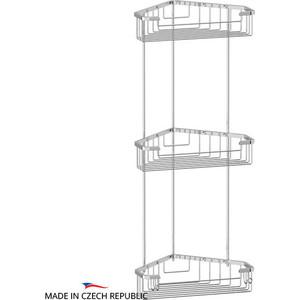 Полочка-решетка угловая 3-х ярусная 23/23/23 см FBS Ryna хром (RYN 009)