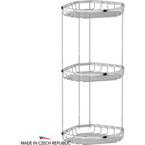 Полочка-решетка угловая 3-х ярусная 26/26/26 см FBS Ryna хром (RYN 027)