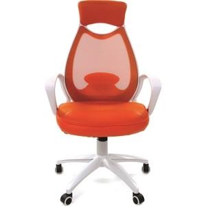 Офисное кресло Chairman 840 белый пластик DW05/SW05/PU52A оранжевое