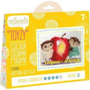 Набор для картин шерстью Toyzy Совушки с яблоком (TZ-P026)