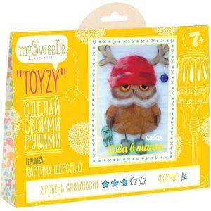 Набор для картин шерстью Toyzy Сова в шапке (TZ-P028)
