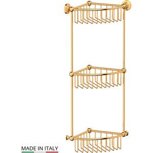 Фотография товара полочка-решетка угловая 3-х ярусная 23 см 3SC Stilmar золото (STI 209) (569610)