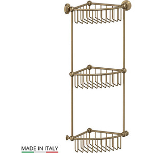 Фотография товара полочка-решетка угловая 3-х ярусная 23 см 3SC Stilmar античная бронза (STI 509) (569715)