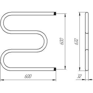 Полотенцесушитель водяной Тера М-образный 600х600 мм (ПСВ-05-10) полотенцесушитель водной тера волна new 600х600 5 перекладин псв 17 27