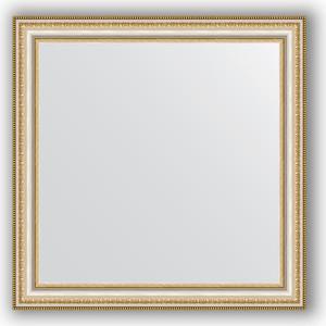 Зеркало в багетной раме Evoform Definite 65x65 см, золотые бусы на серебре 60 мм (BY 0782)