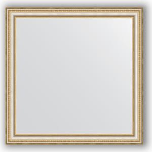 Зеркало в багетной раме Evoform Definite 75x75 см, золотые бусы на серебре 60 мм (BY 1027)