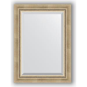 Зеркало с фацетом в багетной раме поворотное Evoform Exclusive 53x73 см, состаренное серебро с плетением 70 мм (BY 1122) зеркало с фацетом в багетной раме поворотное evoform exclusive 53x73 см прованс с плетением 70 мм by 3381