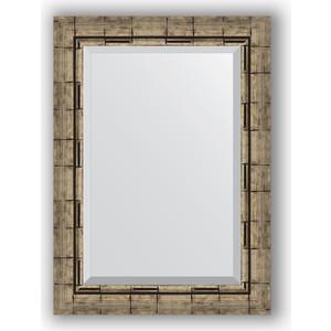 Зеркало с фацетом в багетной раме поворотное Evoform Exclusive 53x73 см, серебрянный бамбук 73 мм (BY 1126) зеркало с фацетом в багетной раме поворотное evoform exclusive 53x73 см прованс с плетением 70 мм by 3381