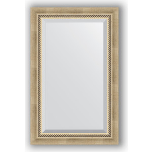 Зеркало с фацетом в багетной раме поворотное Evoform Exclusive 53x83 см, состаренное серебро с плетением 70 мм (BY 1132) зеркало с фацетом в багетной раме поворотное evoform exclusive 53x83 см состаренное золото с плетением 70 мм by 3405