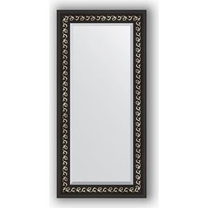 Зеркало с фацетом в багетной раме поворотное Evoform Exclusive 55x115 см, черный ардеко 81 мм (BY 1145) зеркало с фацетом в багетной раме поворотное evoform exclusive 53x83 см прованс с плетением 70 мм by 3407