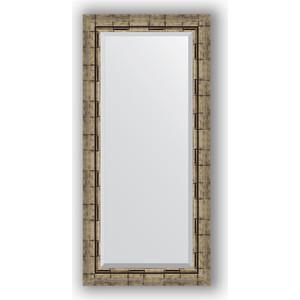 Зеркало с фацетом в багетной раме поворотное Evoform Exclusive 53x113 см, серебрянный бамбук 73 мм (BY 1146)