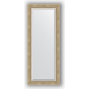 Зеркало с фацетом в багетной раме поворотное Evoform Exclusive 53x133 см, состаренное серебро с плетением 70 мм (BY 1152) зеркало с фацетом в багетной раме поворотное evoform exclusive 53x133 см прованс с плетением 70 мм by 3511