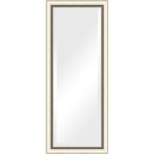 Зеркало с фацетом в багетной раме поворотное Evoform Exclusive 58x143 см, состаренное серебро с плетением 70 мм (BY 1162) зеркало с фацетом в багетной раме поворотное evoform exclusive 58x143 см прованс с плетением 70 мм by 3537