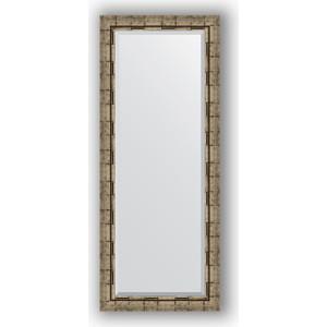 Зеркало с фацетом в багетной раме поворотное Evoform Exclusive 58x143 см, серебрянный бамбук 73 мм (BY 1166)