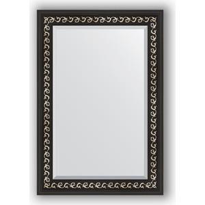 Зеркало с фацетом в багетной раме поворотное Evoform Exclusive 65x95 см, черный ардеко 81 мм (BY 1175) зеркало с фацетом в багетной раме поворотное evoform exclusive 53x83 см прованс с плетением 70 мм by 3407