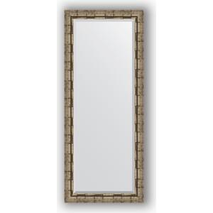 Зеркало с фацетом в багетной раме поворотное Evoform Exclusive 63x153 см, серебрянный бамбук 73 мм (BY 1186) зеркало с фацетом в багетной раме поворотное evoform exclusive 71x161 см палисандр 62 мм by 1204