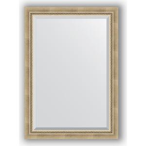 Зеркало с фацетом в багетной раме поворотное Evoform Exclusive 73x103 см, состаренное серебро с плетением 70 мм (BY 1192) зеркало с фацетом в багетной раме поворотное evoform exclusive 73x103 см прованс с плетением 70 мм by 3459