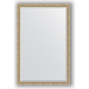 Зеркало с фацетом в багетной раме поворотное Evoform Exclusive 113x173 см, состаренное серебро с плетением 70 мм (BY 1212) зеркало с фацетом в багетной раме поворотное evoform exclusive 113x173 см прованс с плетением 70 мм by 3615