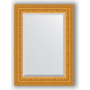 Зеркало с фацетом в багетной раме поворотное Evoform Exclusive 55x75 см, сусальное золото 80 мм (BY 1224) зеркало с фацетом в багетной раме поворотное evoform exclusive 53x83 см прованс с плетением 70 мм by 3407
