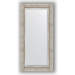 Зеркало с фацетом в багетной раме поворотное Evoform Exclusive 56x116 см, римское серебро 88 мм (BY 1247) зеркало с фацетом в багетной раме поворотное evoform exclusive 53x83 см прованс с плетением 70 мм by 3407