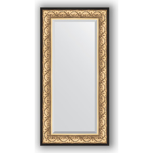 Зеркало с фацетом в багетной раме поворотное Evoform Exclusive 60x120 см, барокко золото 106 мм (BY 1251) зеркало с фацетом в багетной раме поворотное evoform exclusive 53x83 см прованс с плетением 70 мм by 3407