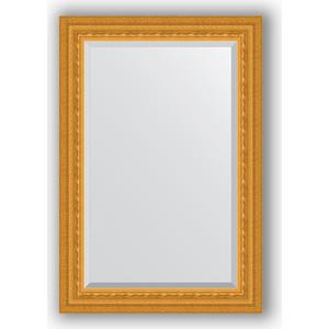 Зеркало с фацетом в багетной раме поворотное Evoform Exclusive 65x95 см, сусальное золото 80 мм (BY 1274) зеркало с гравировкой поворотное evoform exclusive g 130x184 см в багетной раме сусальное золото 80 мм by 4482